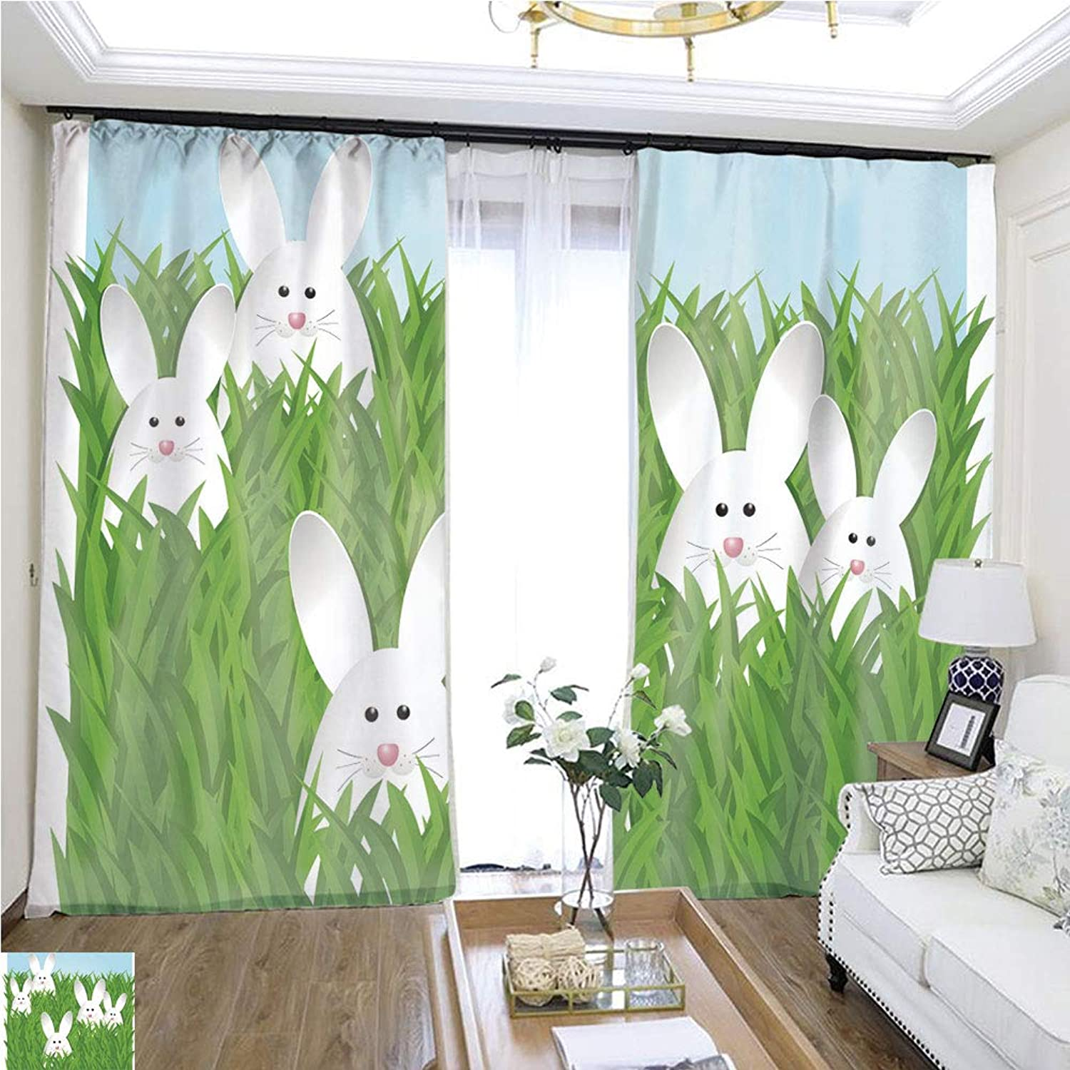Air Port Screen Easter bunnies3 W96 x L120 Provide Heat Highprecision Curtains for bedrooms Living Rooms Kitchens etc.