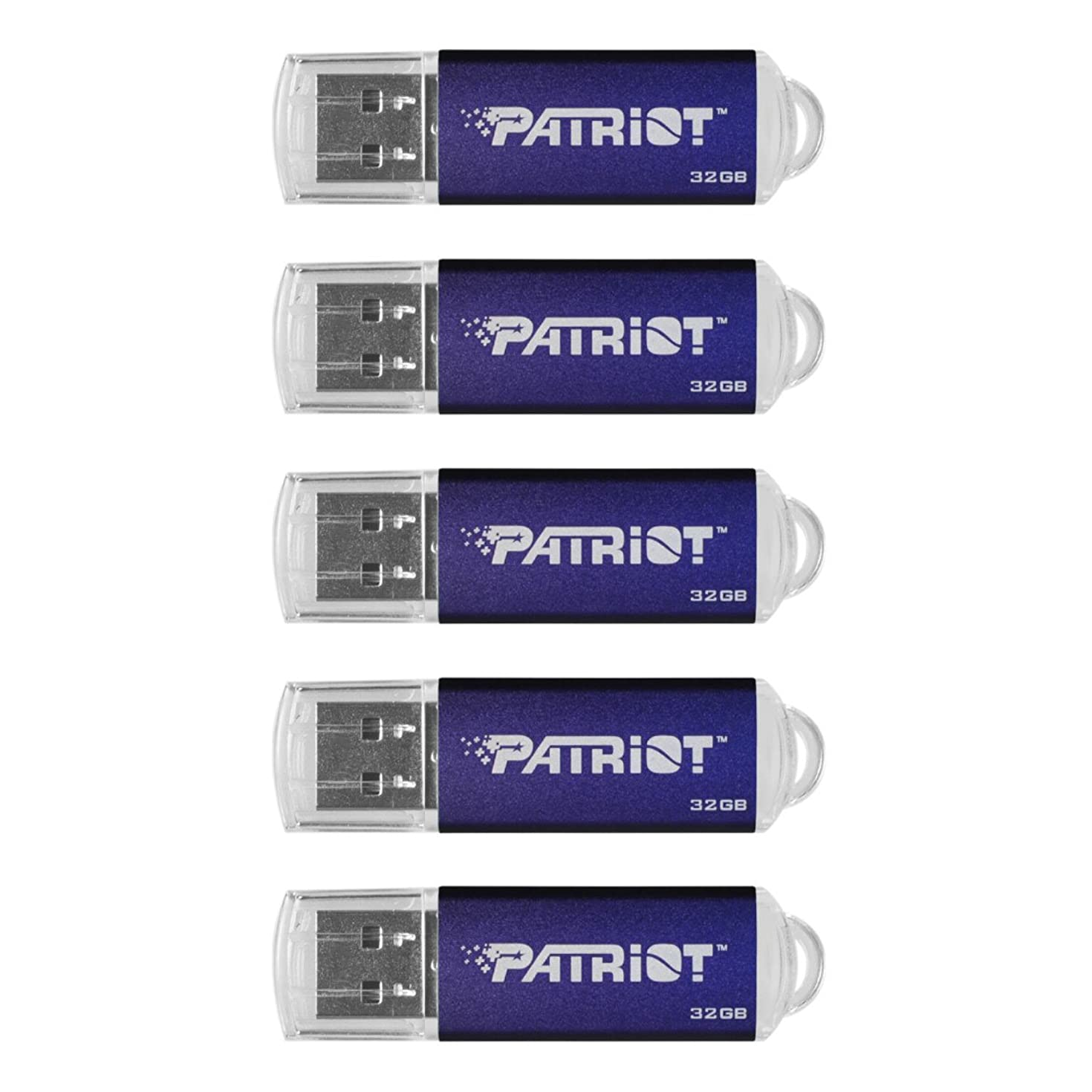 Patriot Memory 32GB Pulse Series USB 2.0 Flash Drive - 5 Pack - Blue (PSF32GXPPN5PK)