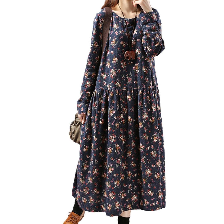 [美しいです] 春 秋 女性 レディース 国立風 ワンピース レトロ 花柄 日系 学院風 ゆったり デザインセンス 優雅 新着 スカート ファッション 気質 長袖 通勤 ドレス