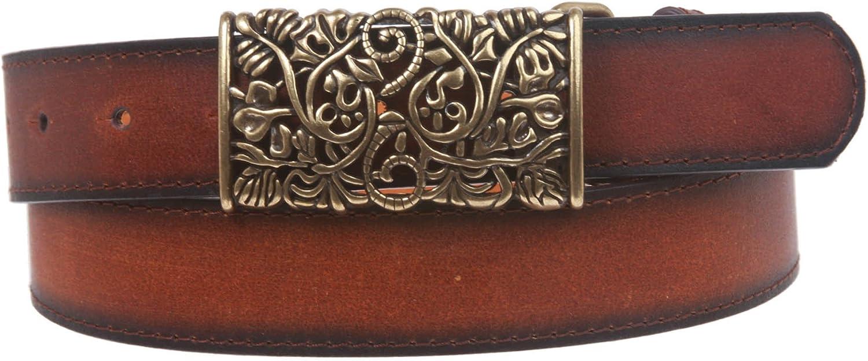 1 1 2  Floral Perforated Rectangular Buckle Vintage Leather Belt
