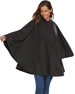 SoTeer Rain Poncho for Womens Batwing-Sleeved Hooded Raincoat Waterproof Packable Rain Jacket with Pockets (6 Colors S-XXL)