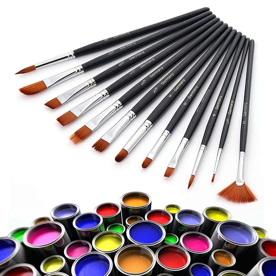 Promisy Paint Brushes 12 Pieces Set, Professional Fine Tip Paint Brush Set, Oil Painting Round Pointed Tip Nylon Hair Artist Brush for Acrylic Watercolor by Crafts