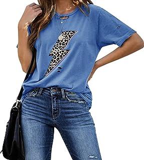 Womens Ripped Leopard Lightning Graphic T-Shirt Tunic Summer Short Sleeve Crewneck Casual Shirt Tops