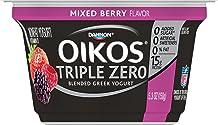 Dannon Oikos Triple Zero Blended Nonfat Greek Yogurt, Mixed Berry, 5.3 oz. Single serve