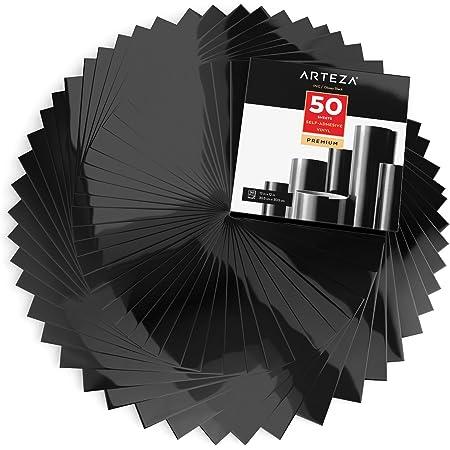 Arteza Selbstklebende Vinylfolie 50 Stück 12 X 12 Zoll 30 4 Cm X 30 4 Cm Glänzende Schwarze Klebefolien Vinylblätter Zum Dekorieren Und Aufkleben Auf Glatten Oberflächen Küche Haushalt