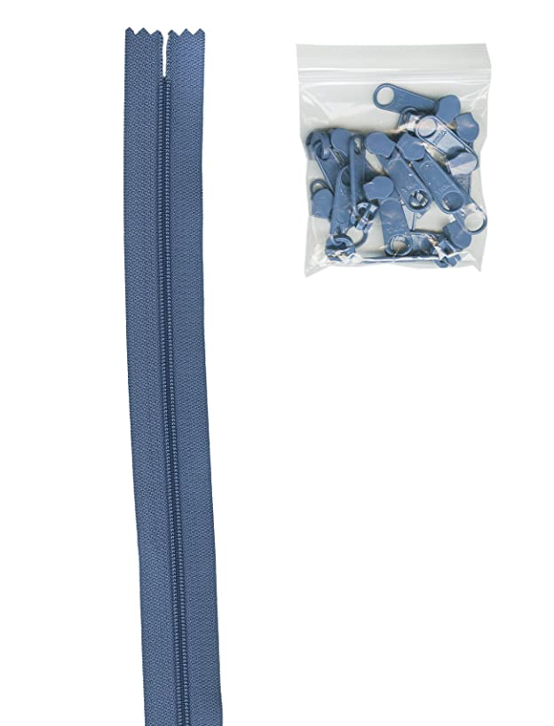 Patterns ByAnnie 4 Yards of 16mm #4.5 Zipper Chain and 16 Ex-Large Country Blue