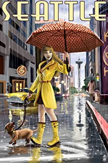 Seattle, Washington - Rainy Day Girl (12x18 Art Print, Wall Decor Travel Poster)