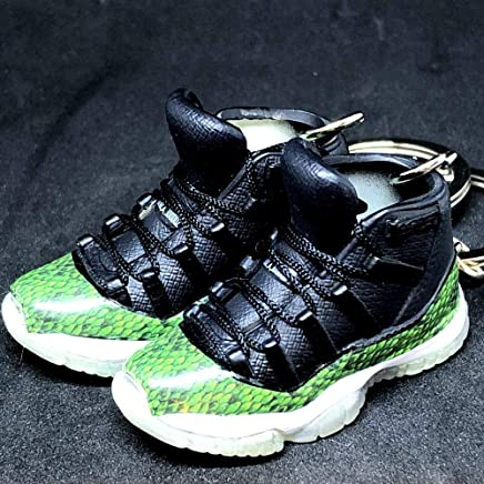 32afd337534909 Pair Air Jordan XI 11 Retro High Snakeskin Green OG Sneakers Shoes 3D  Keychain 1