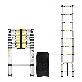 9 Echelons /Échelle t/élescopique de 2,6M Certifi/é EN131-6 Sotech Sac de transport OFFERT Portable et Pliante /échelle t/élescopique /élev/ée d/échelle de loft de but t/élescopique