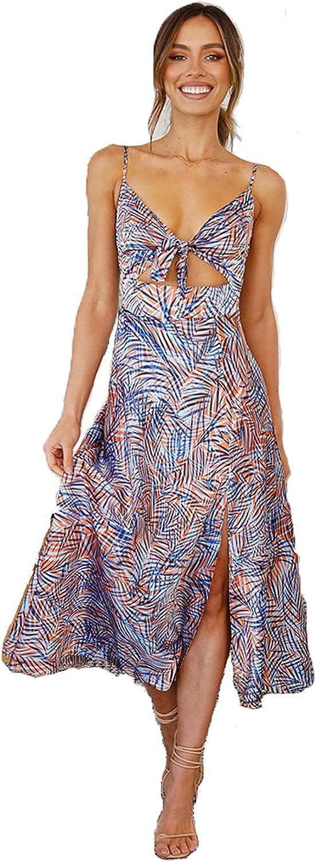 Women's Floral Spaghetti Strap Cheap bargain Tie Summer Front Dress Maxi Max 42% OFF Wrap