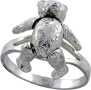 Sterling Silver Movable Teddy Bear Ring 7/8 inch, sizes 5.5 - 10