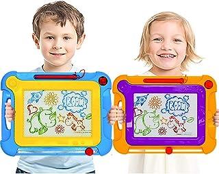 YongnKids Lot de 2 Ardoise Magique pour Enfants, Planche à Dessin Magnétique Colorée avec 2 Timbres Magnétiques et 1 Stylo...