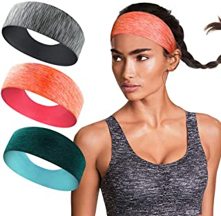 3 Pack Workout Headbands for Women - Sweat Wicking Hair...