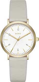 DKNY Women's Quartz Stainless Steel and Leather Casual Watch, Color:Grey (Model: NY2507)