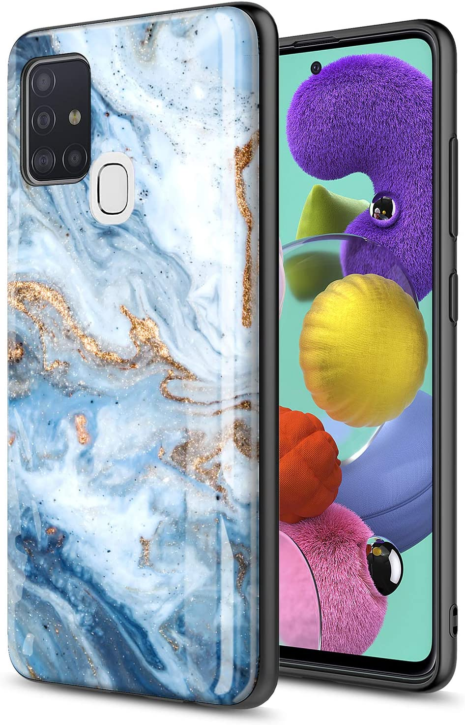 GORGCASE Phone CASE for Samsung Galaxy A21S (NOT FIT A21), Slim Graphic Design Anti-Scratch Shook-Proof Hybrid Rubber PC TPU Bumper Armor Cute Teen Girls Women Drop Protective Cover Blue Marble