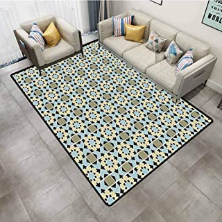 Rugs for Living Room Arabic Abstract Flower Motifs in Squares Checked Pattern Geometric Chevron Tile Design Multicolor Carpet Spots for Classroom 5'x7'