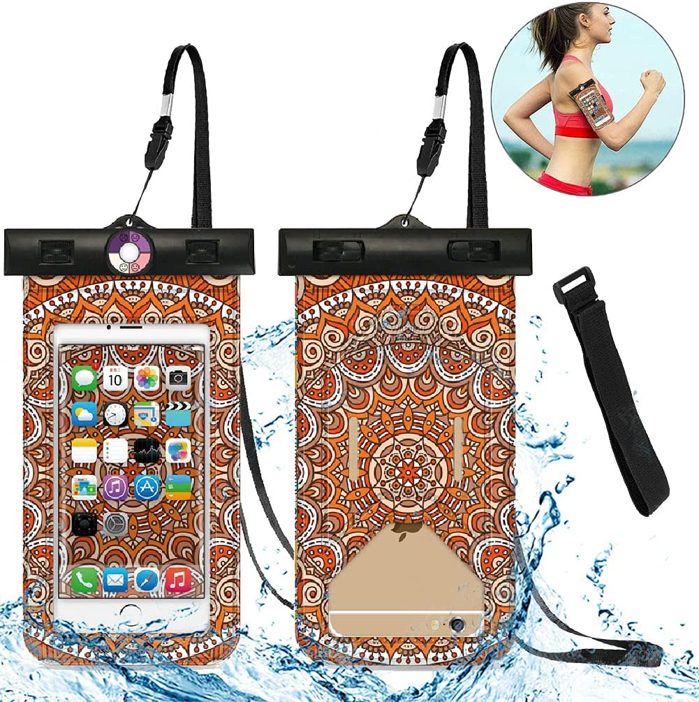 Universal Waterproof Phone Pouch [2-Pack] - IPX8 Waterproof Phone Case Cell Phone Dry Bag with Armband for iPhone Pro XS XR XS 12 11 10 9 8 7 6 Plus,SE, Samsung S10 S10+ S9+ S9 S8+,Note,up to 6.5