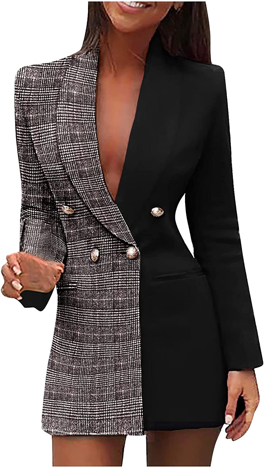 Blazer Dress for Outlet sale feature Women Sexy Deep Block Neck Directly managed store Color Casual V Coats