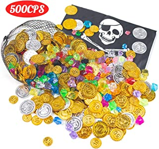 FuturePlusX 500PCS PirateToys Gold Coins and Pirate Gems Jewelery Playset for Party Favor (250 Coins and 250 Gems)