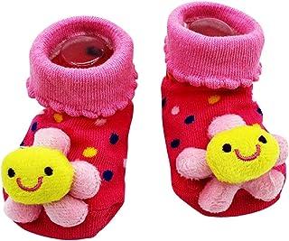 KIRALOVE, Calcetines antideslizantes para niños - calcetines para recién nacidos - 0/12 meses - fantasía - flor de lunares fucsia - hombre - mujer - unisex - idea de regalo para niños pequeños