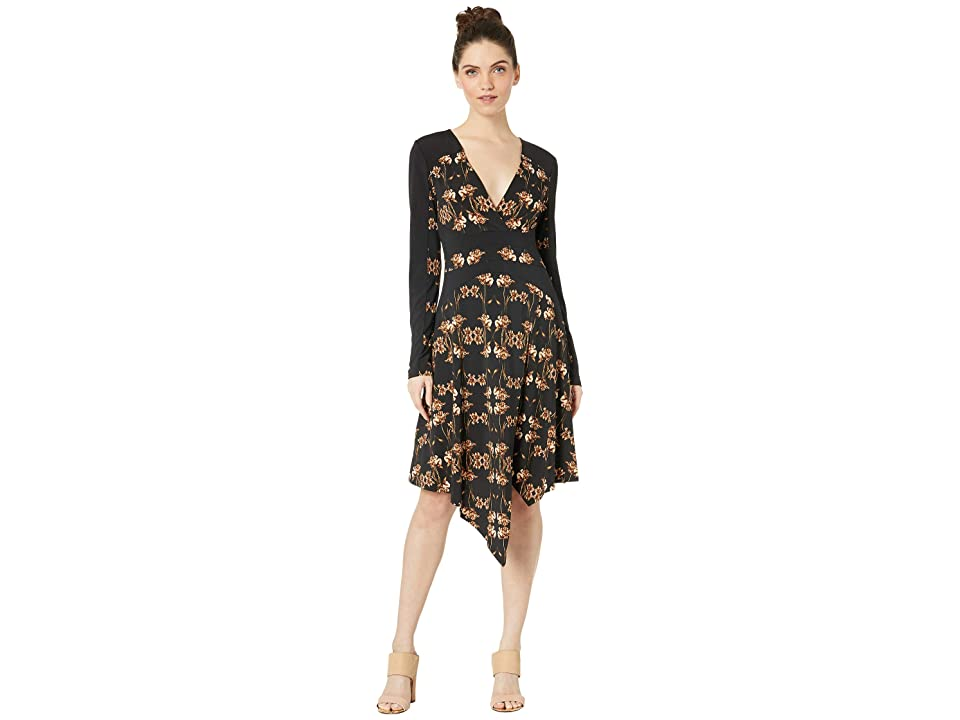 BCBGMAXAZRIA V-Neck Long Sleeve Knit Dress (Fringed Tulips/Black) Women