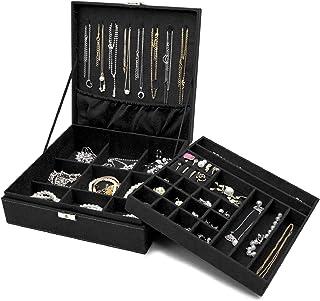 Procase Boîte à Bijoux Coffret à Bijoux pour Femmes, 2 Niveaux, Coffrets/Boîte à Maquillage pour Boucles d'oreilles, Brace...