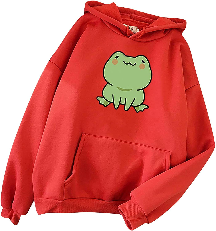 Cute Hoodies for Teen Girls Aesthetic Trendy Frog Print Pullover Crewneck Sweatshirt Long sleeve Casual Tops with Pocket