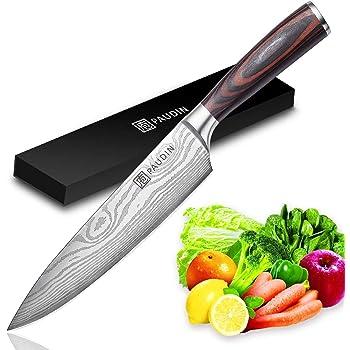 PAUDIN Kochmesser Küchenmesser 20cm Profi Messer Chefmesser Allzweckmesser aus hochwertigem Carbon Edelstahl, Extra Scharfe Messerklinge mit ergonomischer Griff