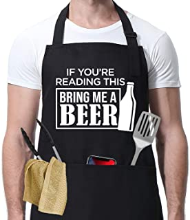 Miracu Funny Apron for Men - BBQ Grilling Gifts, Cooking Gifts, Beer Gifts for Men - Birthday, Thanksgiving, Christmas Jok...