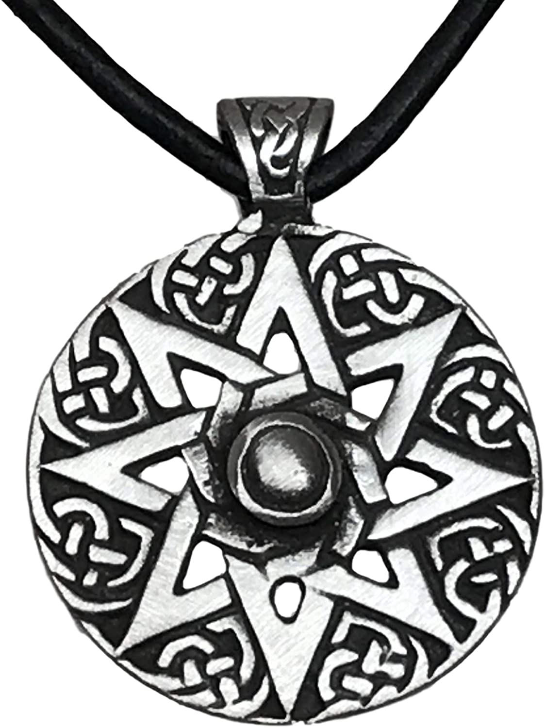 Trilogy Jewelry Pewter Wheel of Life Octagram Yoga Buddha Pagan Pendant on Leather Necklace