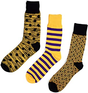 Men's Yellow Funky Multi Design Dress Socks Gift Set 3 Pairs