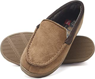Hanes Boy's Slipper Moccasin House Shoe with Indoor Outdoor Memory Foam Sole Fresh IQ Odor Protection