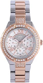 GUESS Women's W0111L4 Sparkling Hi-Energy Silver- And Rose Gold-Tone Watch