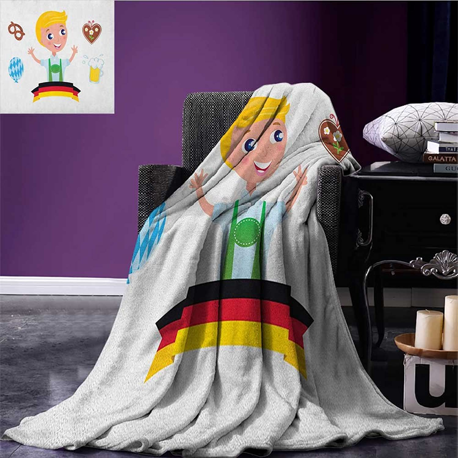 German Throw Blanket Bavarian Boy with Blonde Hair with Oktoberfest Symbols Beer Balloon and Pretzel Miracle Blanket Multicolor Size 59 x35.5