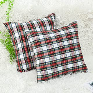 GTEXT 2 Pack Christmas Decor White Plaids Pillow Covers Buffalo Check Throw Pillow Cover Tartan Cuhion Cover Case for Couch Sofa Home Decoration Cotton 18 X 18 Inches