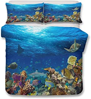 HNHDDZ Oceano Tema Fundas para edredón Fondo del Mar Mundo Juego de Cama 3D Animales Pescado Tortuga Coral Azul Verde Multicolor Funda nórdica con Cremallera (Estilo 6, 200x200 cm - Cama 135 cm)