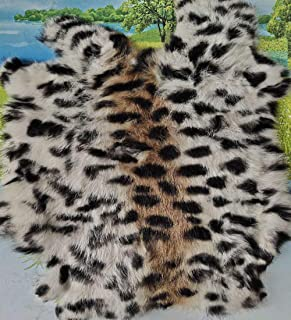 Bobcat Print Tanned Rabbit Fur Hide Pelt, Rabbit Pelt with Sewing Quality Leather Rabbit Rug Blanket,8