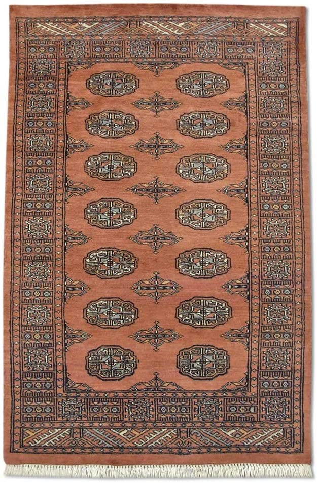 Traditional Persian Handmade Bokhara Rug Rose Translated Wool shipfree Pale Copper