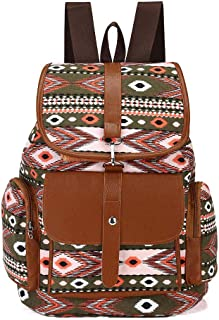 Women Canvas Backpack Drawstring Knapsack Girls Casual Book Bag Bohemian Style Rucksack Outdoor Sports Daypack