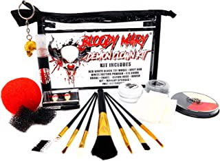 Bloody Mary Demon Clown Face Makeup Kit - Halloween Costume FX with Fake Blood, Fangs, Round Red Nose, 8-Piece Brush Set, 3-Color Wheel, Setting Powders, Sponges