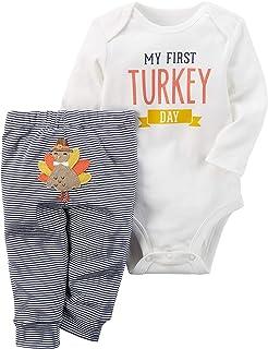 e25b77ebbf96 Uaena Thanksgiving Outfit Baby Girls Boys Newborn My First Turkey Day Romper  Bodysuit Onesie and Striped