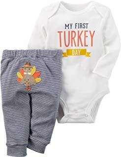 Thanksgiving Outfit Baby Girls Boys Newborn My First Turkey Day Romper Bodysuit Onesie and Striped Turkey Pants