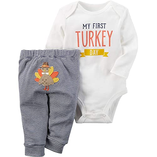 cf0e3dd74 Uaena Thanksgiving Outfit Baby Girls Boys Newborn My First Turkey Day  Romper Bodysuit Onesie and Striped