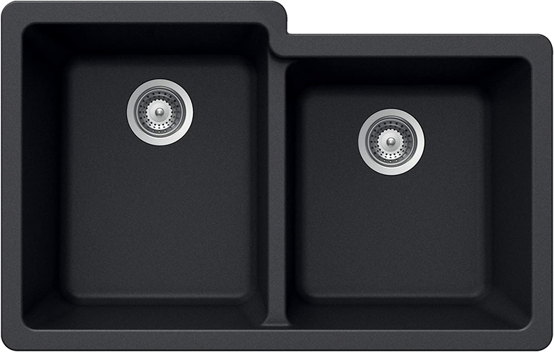 Max 46% OFF Houzer Free shipping anywhere in the nation M-175U MIDNITE Quartztone Series 60 Granite 40 Undermount