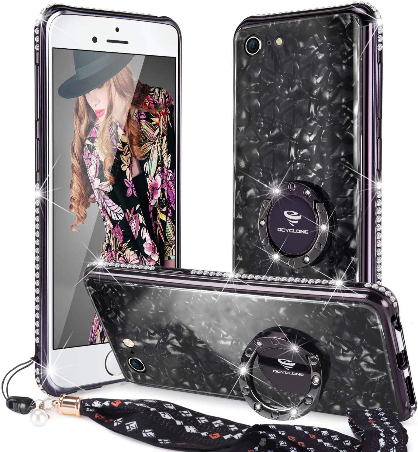 iPhone 6s Plus/ 6 Plus Case Glitter with Ring Holder Grip Kickstand for Women Girls, [Tempered Glass] Bling Diamond Bumper Ring Stand Cute Protective iPhone 6 Plus Case, iPhone 6s Plus Case - Black