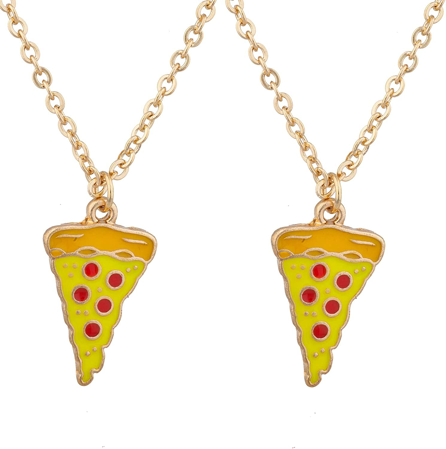 LUX ACCESSORIES Gold Tone Yellow Pizza Slice Red Pepperoni Chain Necklace