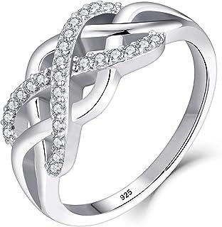 خواتم Starchenie 925 من الفضة الإسترلينية للنساء خواتم زفاف خطوبة زركونيا 3A، مقاس 5-10