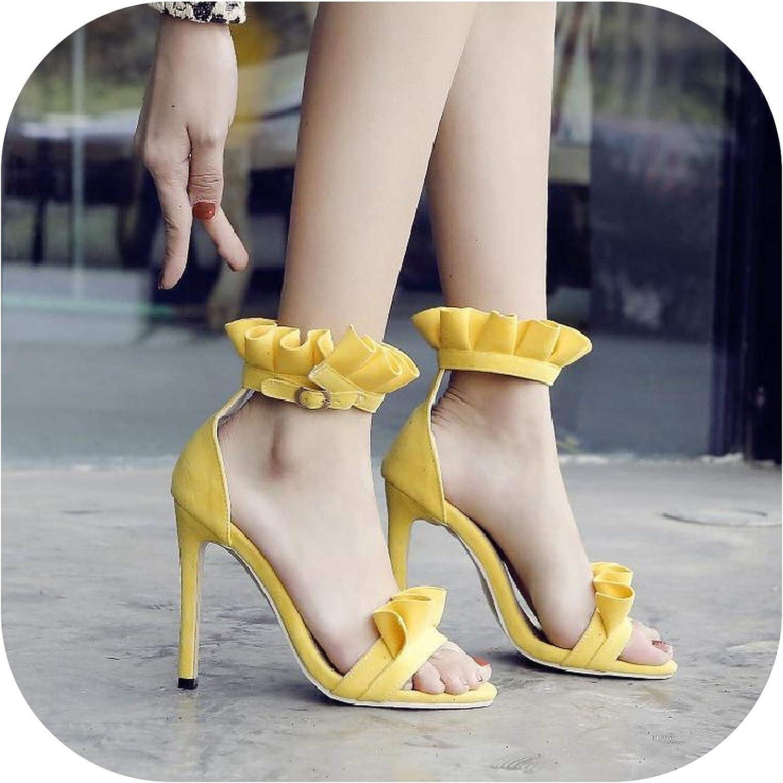 Heel fine Heel Toe Sandals Women Wavy Side Foot Buckle European Fashion Sandals