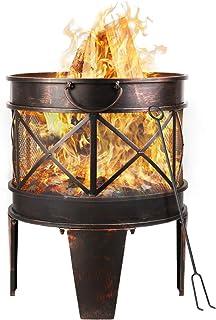 femor feuerschale Durchmesser42cm mit Griffen, Feuerschale in Antik-Rost-Optik, Garten Feuerstelle, Metall Feuerkorb mit Feuergabel,Tragbar und leicht zu bewegen,58x45x42cm