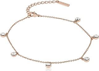 Mestige Women Glass Rose Gold Alina Anklet with Swarovski Crystals
